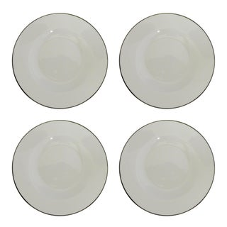 White & Silver Rimmed Soup Bowls - Set of 4