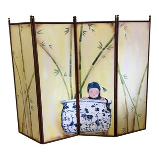 Hand Painted 4-Panel Asian Screen