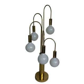 Mid-Century Modern Brass 5-Arm Lamp