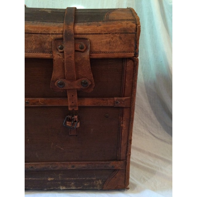 Image of Early 20th Century French Leather Domed Trunk