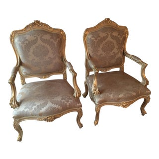 French Louis XIV Style Armchairs - A Pair