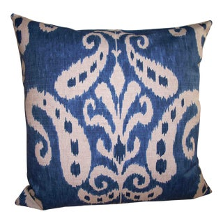 Large Denim Blue Ikat Accent Pillow