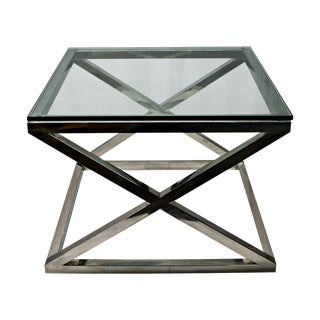Stainless Steel & Glass Top Square Crossing Table