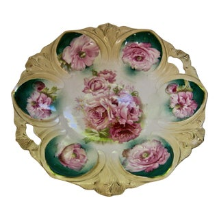 1890s RS Prussia Hand Painted Rose Cake Dish