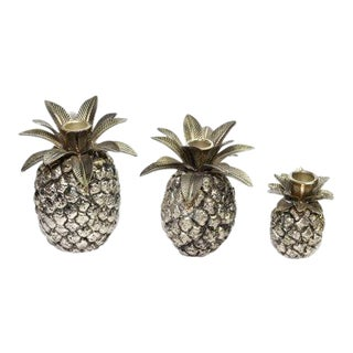 Vintage Silver Pineapple Candle Holders - Set of 3