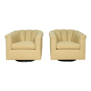 Hollywood Regency Style Swivel Chairs - a Pair