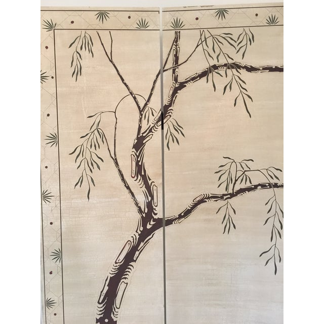 Hand-Painted Chinese Wood Screen - Image 4 of 11