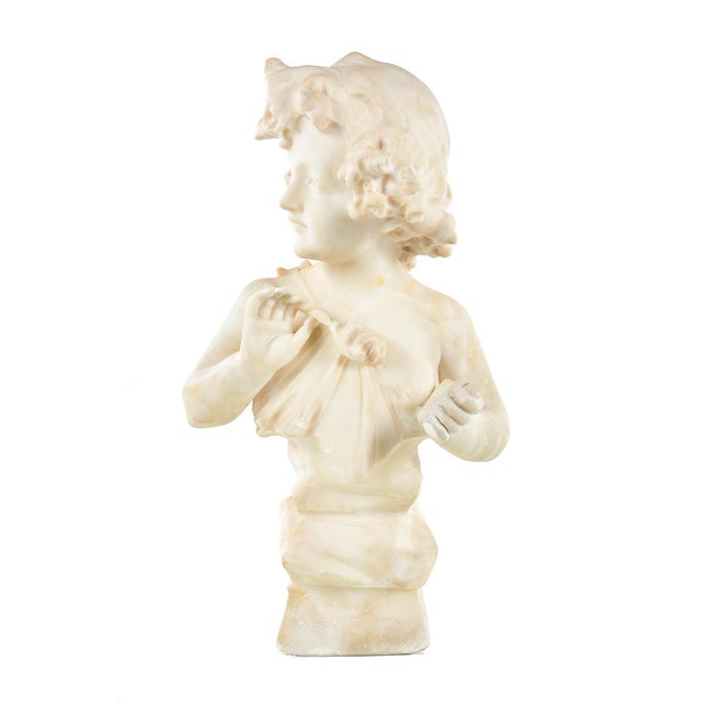 19th Century Antique Alabaster Sculpture of a Young Painter - Image 5 of 9