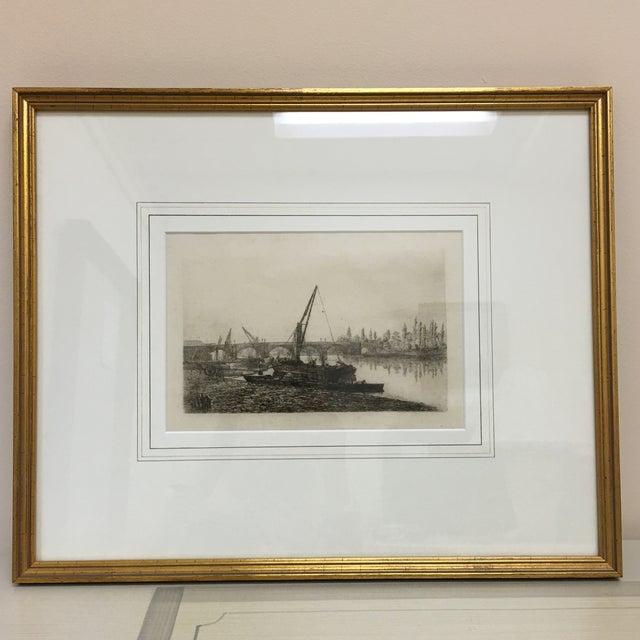 Vintage Framed Riverside Fishing Boat Etching - Image 2 of 7