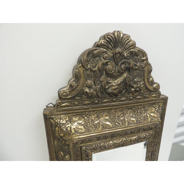 Antique Repose Brass Vanity Reliquary with Mirrored Door and Coat Brushes - Image 2 of 8