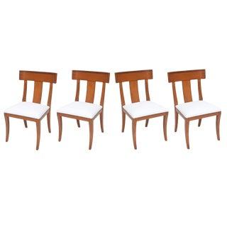 Set of Four Swedish Modern Fruitwood Klismos Chairs, 1950s