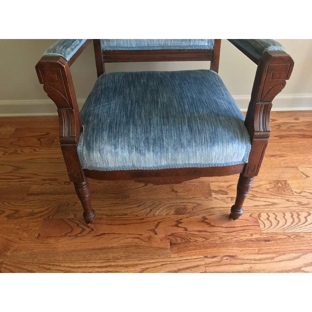 Blue Velvet Eastlake Chair - Image 8 of 9