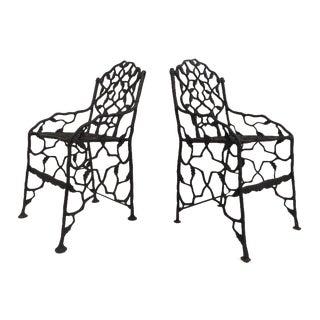 Vintage Fiske Cast Iron Chairs - a Pair