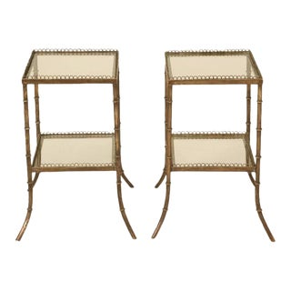 Vintage French Brass & Glass End Tables - A Pair