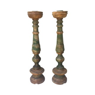 Italian Painted Candle Holders - A Pair