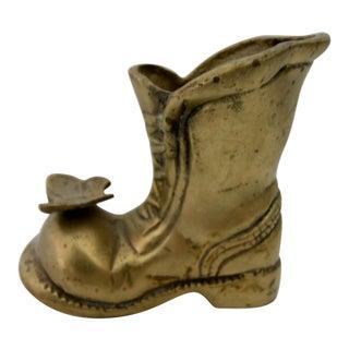 Vintage Brass Boot Vase Figurine
