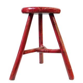 Chinese Oriental Round Tri-Leg Wood Stool
