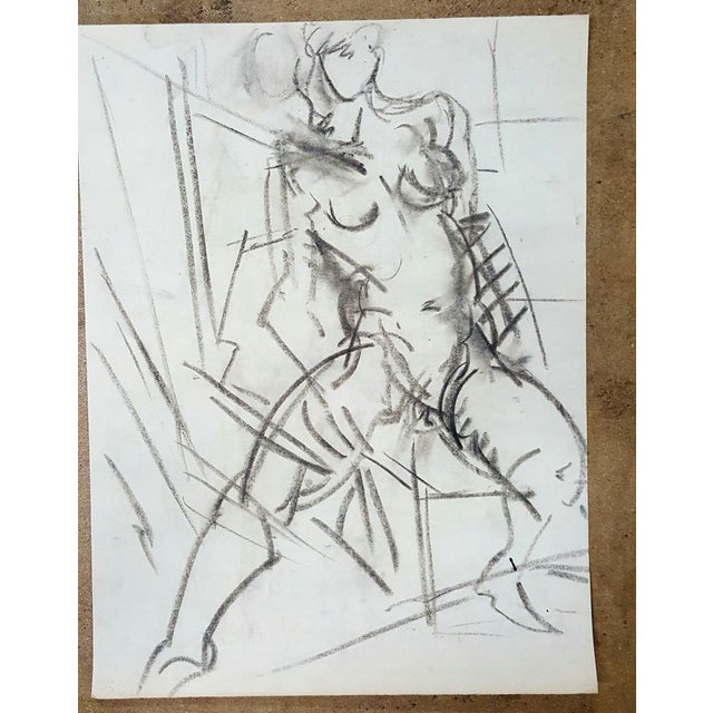 Charcoal Abstract Female Nude Drawing - Image 2 of 3