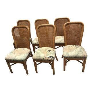 Mid-Century Rattan Bentwood Cain Back Dining Chairs - Set of 6