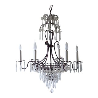 French Tole & Crystal Chandelier
