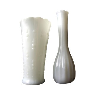 Milk Glass Vases - a Pair