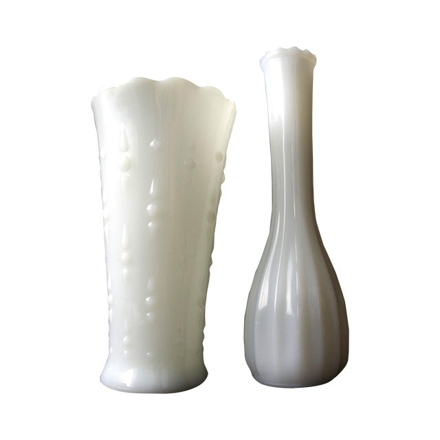 Image of Milk Glass Vases - a Pair