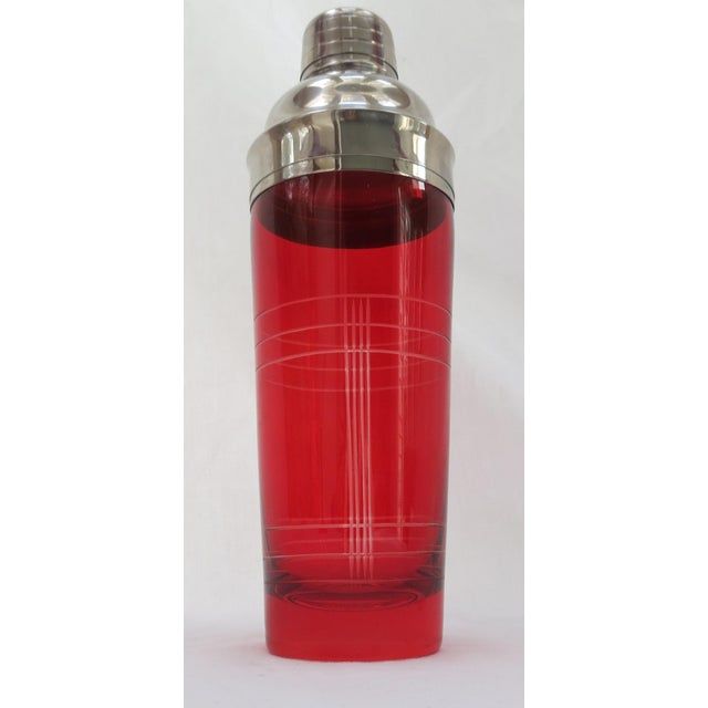 Image of Christmas Red Glass Cocktail Shaker