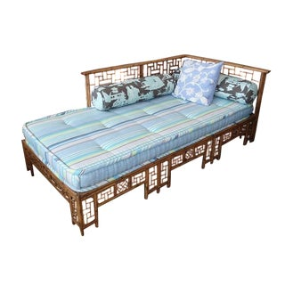 Asian Bamboo Lattice Daybed W/ Striped Cushion