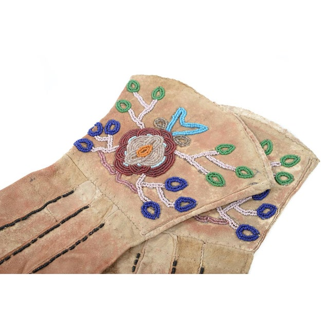 Native American Antique Leather & Beads Gloves - Image 2 of 7