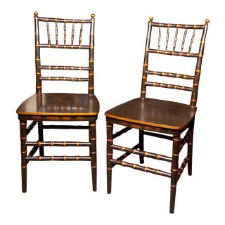 Chinoiserie Faux Bamboo Dining Chairs - A Pair