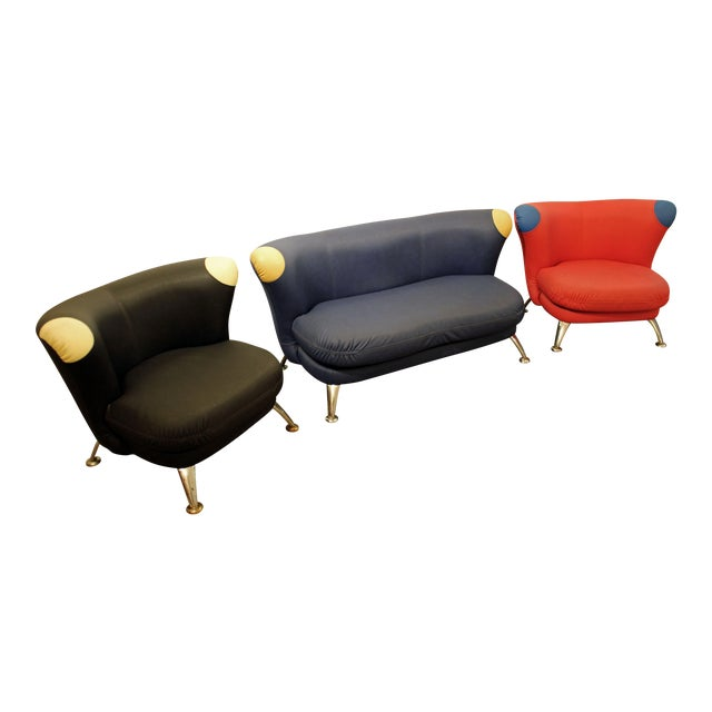 3-Piece Mid-Century Italian Modern Sofa Loveseat/Lounge Chair Set - Image 1 of 11