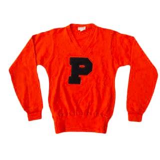 Vintage Collegiate Orange & Black Letterman Sweater