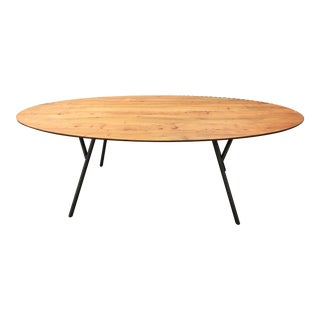 CB2 Cherry & Metal Dining Table