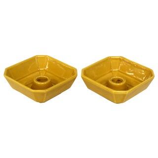 Mid-Century Mustard Ceramic Candleholders - Pair