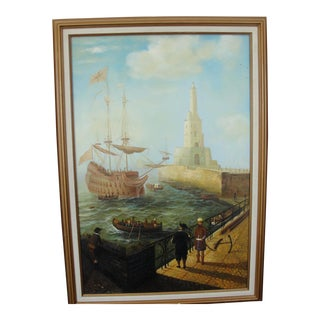 """""""Merchant Ship in Port"""" Painting"""