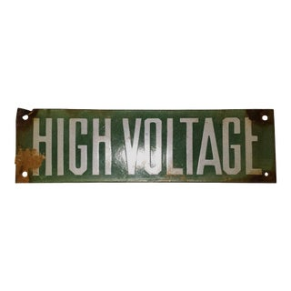 Vintage Green Porcelain High Voltage Sign