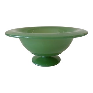 Jadeite Glass Footed Decorative Bowl