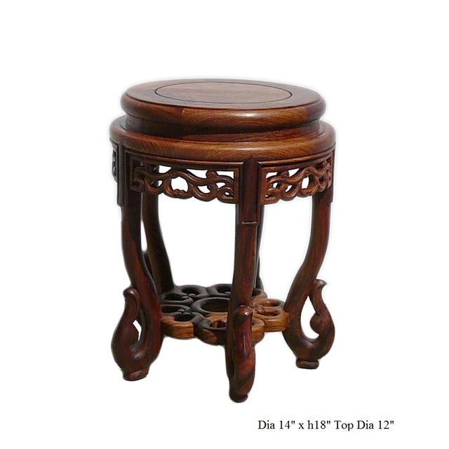 Chinese Huali Rosewood Round Scroll Leg Stool - Image 5 of 5
