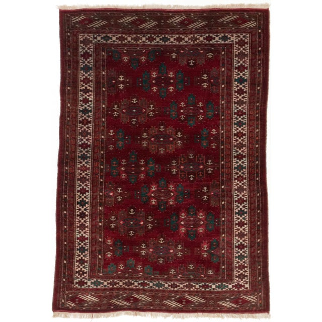 """Finest Khal Mohammadi Red Afghan Rug - 4'6"""" X 6'4"""" - Image 1 of 2"""
