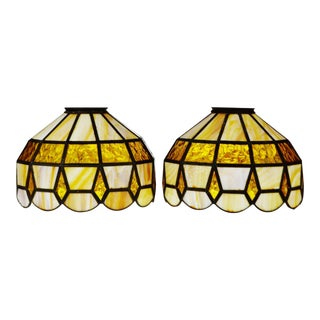 Vintage Tiffany Style Stained Glass Lamp Shades - A Pair