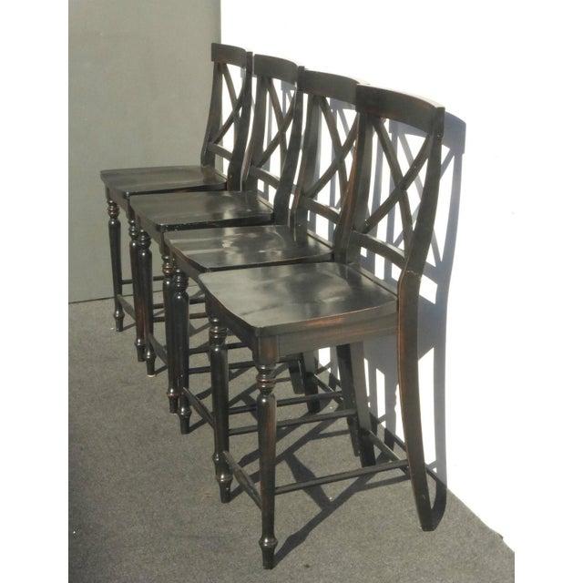 Black Modern Wood Bar Stools - Set of 4 - Image 4 of 11