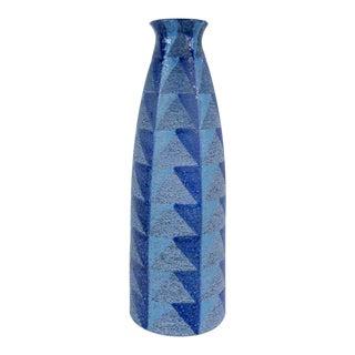 Bitossi Tall Blue Geometric Ceramic Vase
