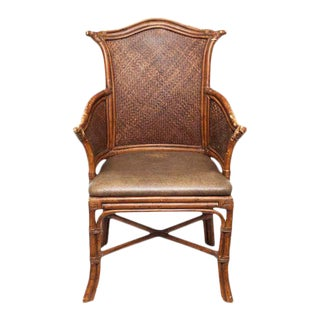 Vintage Chippendale Style Bamboo & Leather Chair