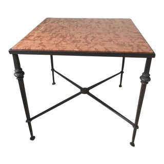 Wrought Iron Marble Top Side Table