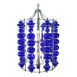 Modern Cobalt Blue Blown Art Glass Chandelier