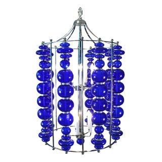 Modern Cobalt Blue Blown Art Glass Chandelier