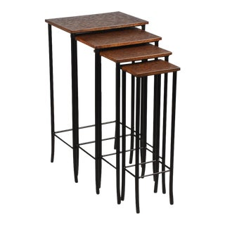 Sarried Ltd. Leather & Iron Nesting Tables - Set of 4