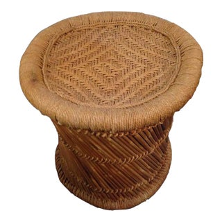 Vintage Woven Wicker & Bamboo Oval Form Pedestal End Table