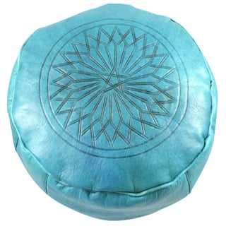 Turquoise Leather Moroccan Pouf Ottoman