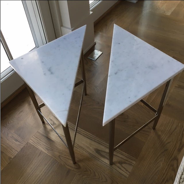 Image of White Marble Side Tables - A Pair